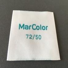Custom very white background labels custom woven