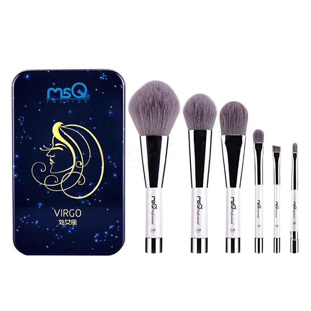 6 Pcs Makeup Kosmetik Serat Arang Bambu Brush Blush Powder Foundation Eye Shadow Alis Bibir Alis Mata Kit dengan Besi Case Virgo-Internasional
