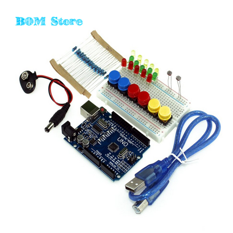 UNO R3 Starter Kit MINI Breadboard LED Jumper Wire button for Arduino free shipping frree shipping top selling high qualiy uno r3 starter kit 1602 lcd dot matrix breadboard led resistor hot selling