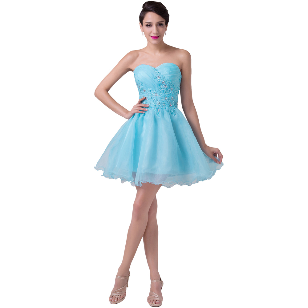 Special Occasion Short Prom Dresses 2017 Knee Length Blue Strapless ...