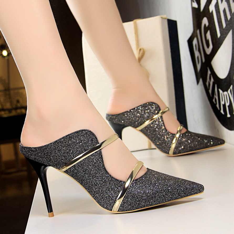 c8d9fd8338d White Gold Sexy High Heels Shoes 2018 New Fashion Summer Style Women  Platform Pumps For Party