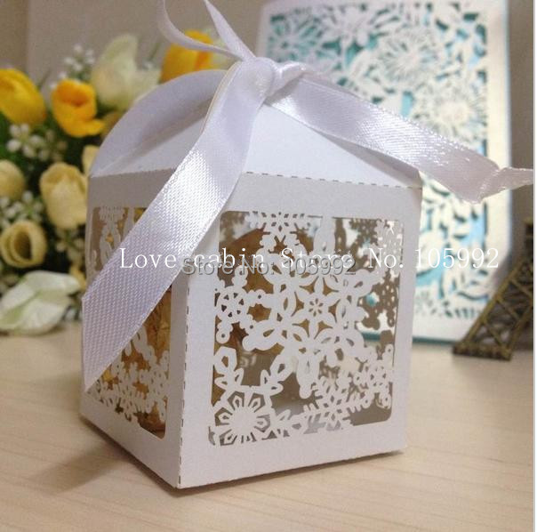 Merry Christmas Laser Cut Snowflake Favor Box Wedding Candy Box In Pearlescent Paper Party