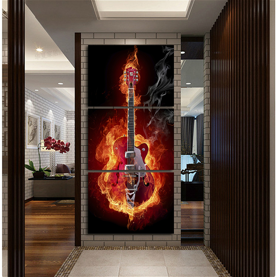 drop ship music art wall painting print black burning guitar pop for home decor picture office. Black Bedroom Furniture Sets. Home Design Ideas