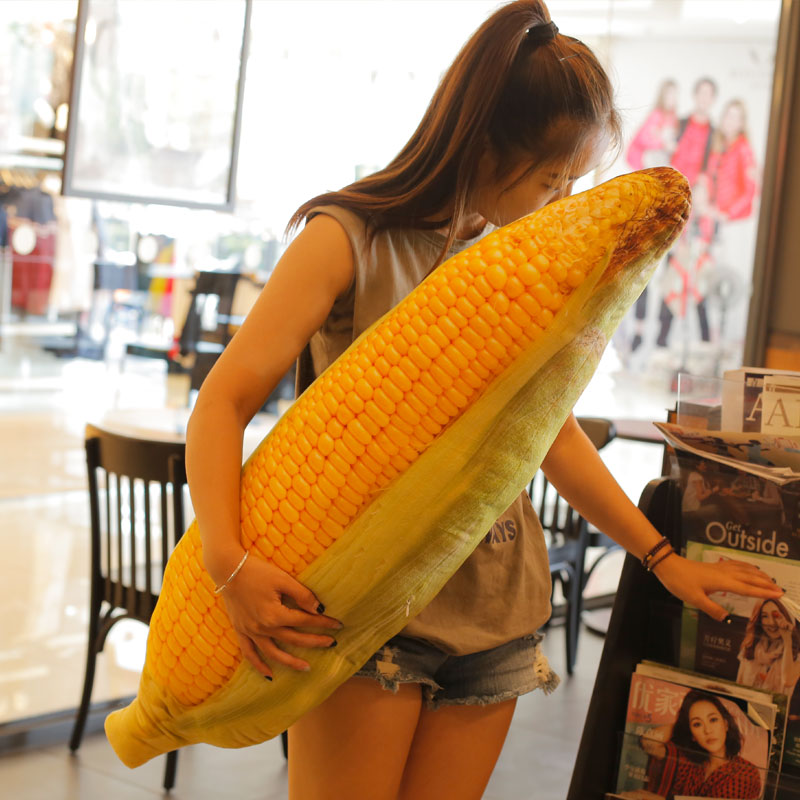 1pc 30-100cm 2 Patterns Real life fruit pillow Banana Corn pillows Plush stuffed vegetable cushion Soft fabric Child's Xmas gift image