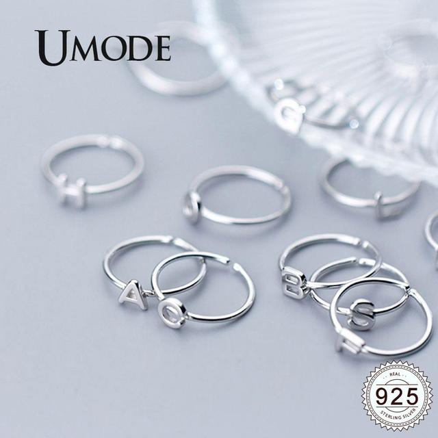 UMODE Korean 925 Sterling Silver Rings Trendy English Letter Open Rings for Women New Silver Gift Girls Femme Jewelry ULR0737A 1