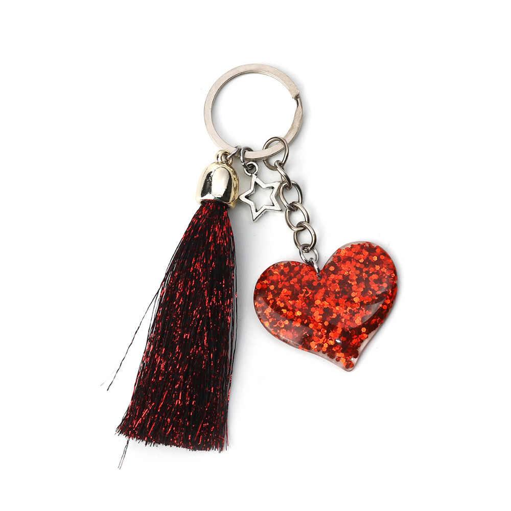 Doreen Box Paillette Sequin Keychain   Keyring Red Tassel Glitter Heart  Antique Silver Color Accessrioes 10cm 37cd6b1a6c7f