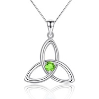Natural Peridot 925 Sterling Silver Irish Knot Pendant Necklace for Women Birthstone Jewelry