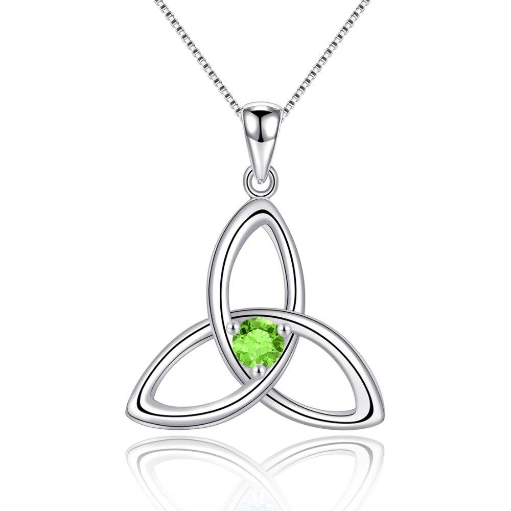 Péridot naturel 925 en argent Sterling pendentif noeud irlandais collier pour les femmes bijoux de pierre de naissance