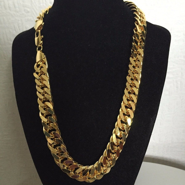 24 K FINE GOLD FINISH N28 CUBAN DOUBLE CURB CHAIN SOLID HEAVY MENS CHAMPION GIFT NECKLACE 23.6 INCH 10 MM