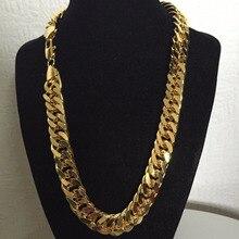 24 K זהב עדין גימור N28 קובני זוגי שרשרת מוצק כבד MENS אלוף מתנת שרשרת 23.6 INCH 10 MM