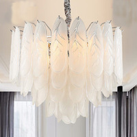 Post Modern Creative LED Pendant Lights individual dinning room bedroom hanging lamps glass leaves Pendant Light indoor lighting