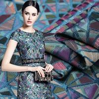 French style geometric trangle jacquard brocade fabric for dress telas vintage tecidos stoffen tissu FREE SHIPPING SP4644
