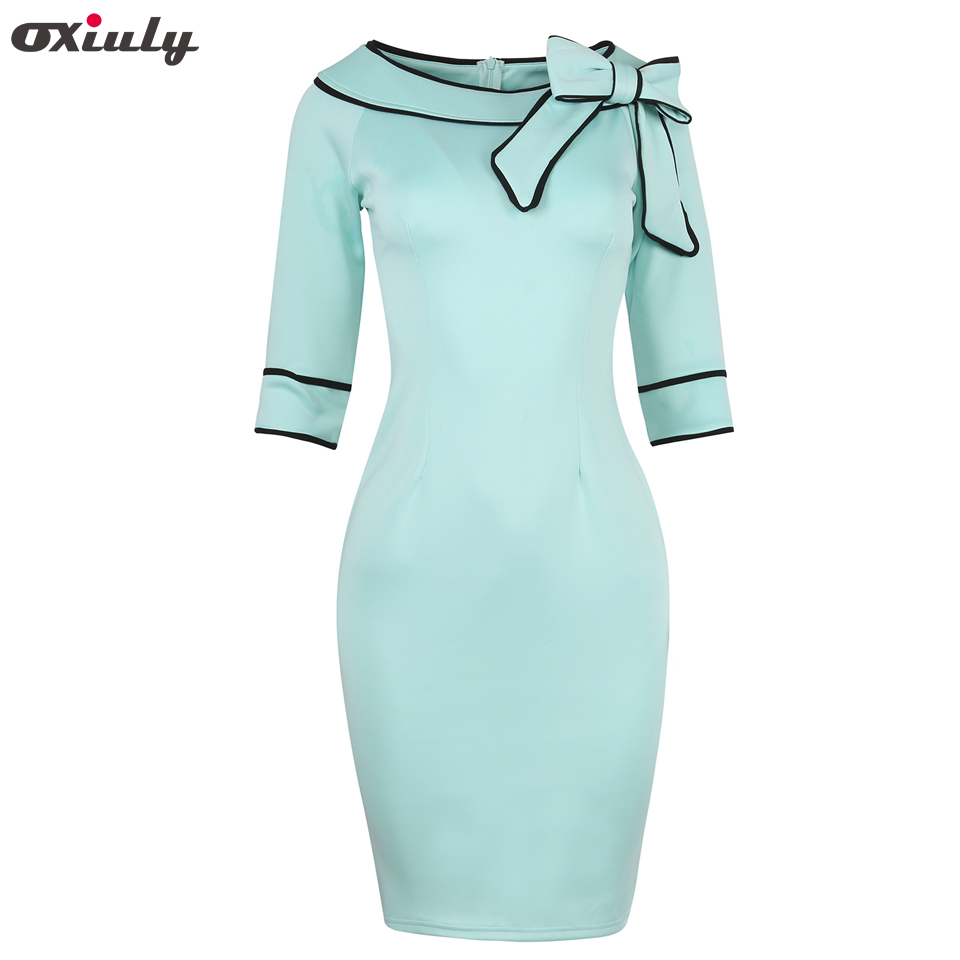 Oxiuly Womens Summer Brief Elegant Slash-Neck Bow Pinup Casual Office Wear Business Party Sheath Work Pencil Dresses