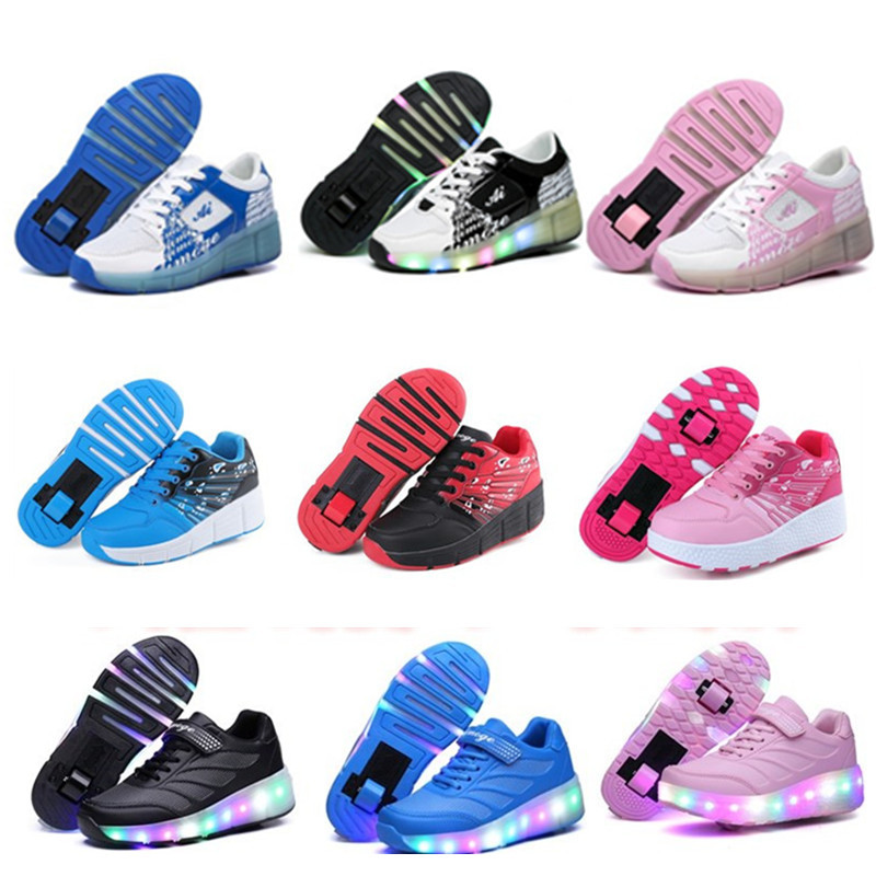 цена на 2018 Child Jazzy Heelys, Junior Girls&Boys LED Light Heelys, Children Roller Skate Shoes, Kids Sneakers With Wheels 18 colors