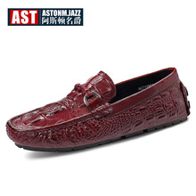 Full Grain Leather Mens Buckle SLIP-ON Driving Loafers Crocodile Boat Shoes Alligator Moccasins Business Man Casual Shoes