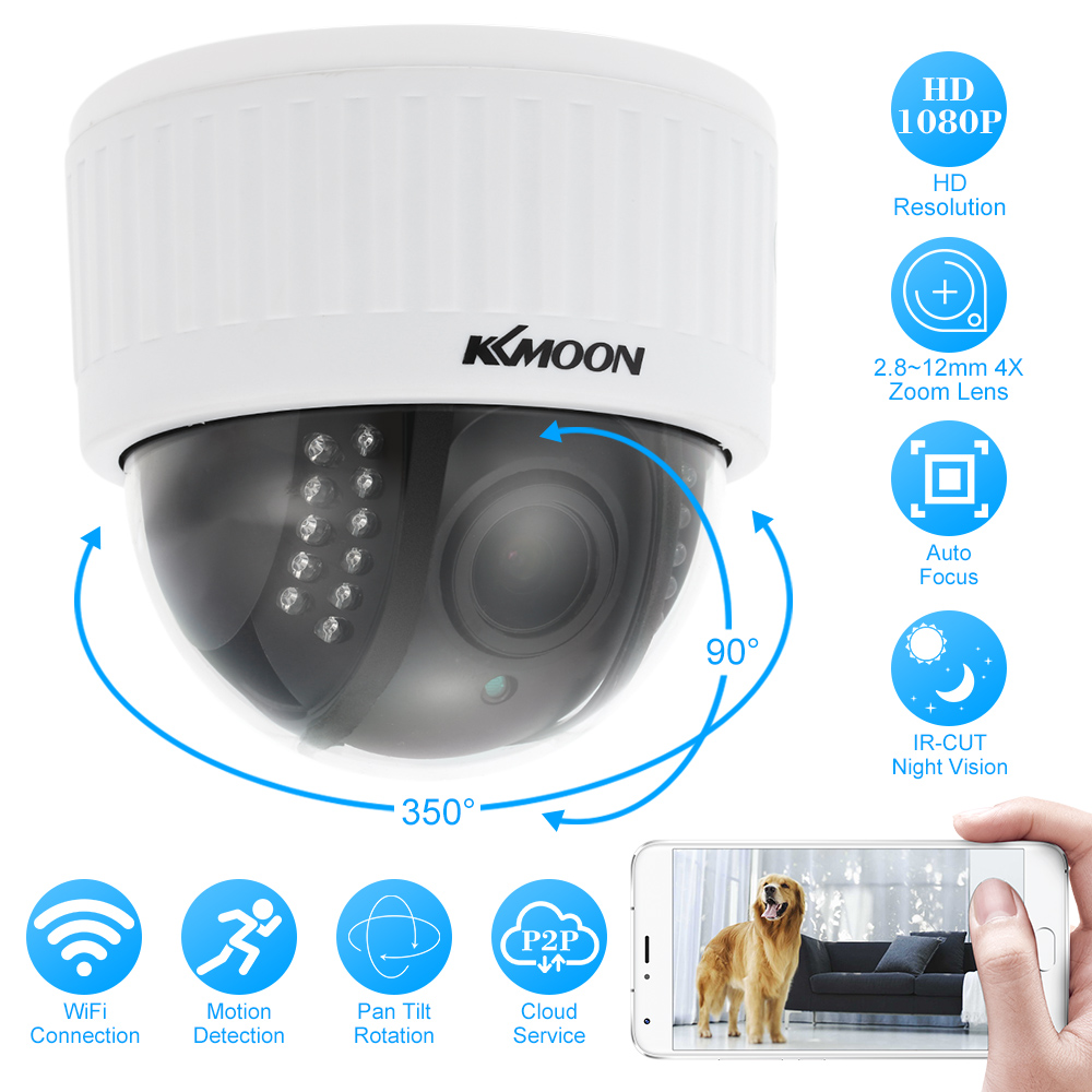 KKmoon Wireless WIFI PTZ IP Camera HD 1080P Security Camera