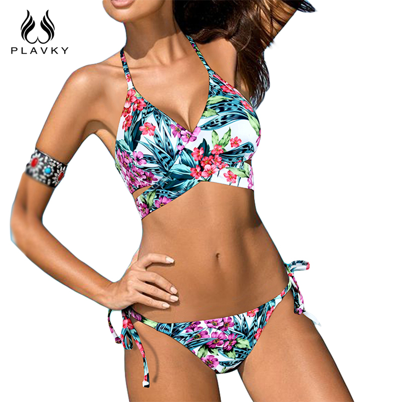 PLAVKY 2017 Sexy Floral Cross Bandage Halter Biquini ...