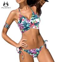 PLAVKY 2017 Sexy Floral Cross Bandage Halter Biquini String Swim Bathing Suit Plus Size Swimwear Women
