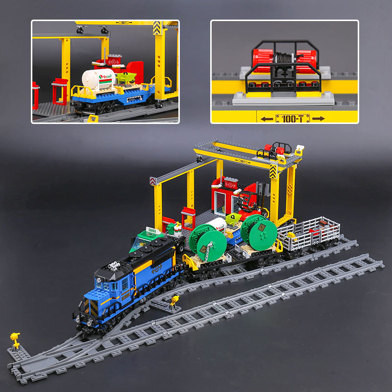 Lepin 02008 The Cargo Train Set Genuine 959Pcs City Series Building Blocks Bricks Educational Christmas Gift 60052 lepin 02008 the cargo train 959pcs city series legoingly 60052 plate sets building nano blocks bricks toys for boy gift