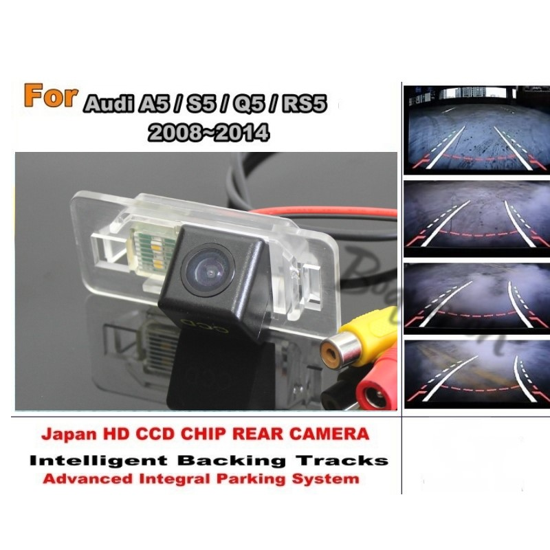For Audi A5 S5 Q5 RS5 2008 ~ 2014 Car Intelligent Parking Tracks Camera / HD CCD Back up Reverse Camera / Rear View Camera smart tracks chip camera for renault megane 3 iii 2008 2015 hd ccd intelligent dynamic parking car rear view camera