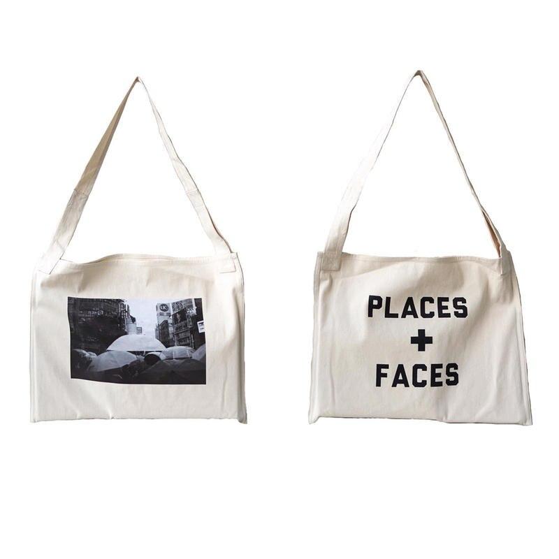 PLACES + visages toile sac sac à main sacs à dos hip-hop streetwear multifonction sac à bandoulière décontracté blanc lettre sac à dos