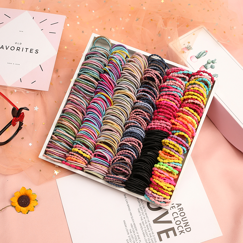 100PCS/Lot Lovely Children Rainbow Mini 3cm Elastic Hair Band Headband Scrunchie Pack Hair Accessories For Girls Kid Ponytail