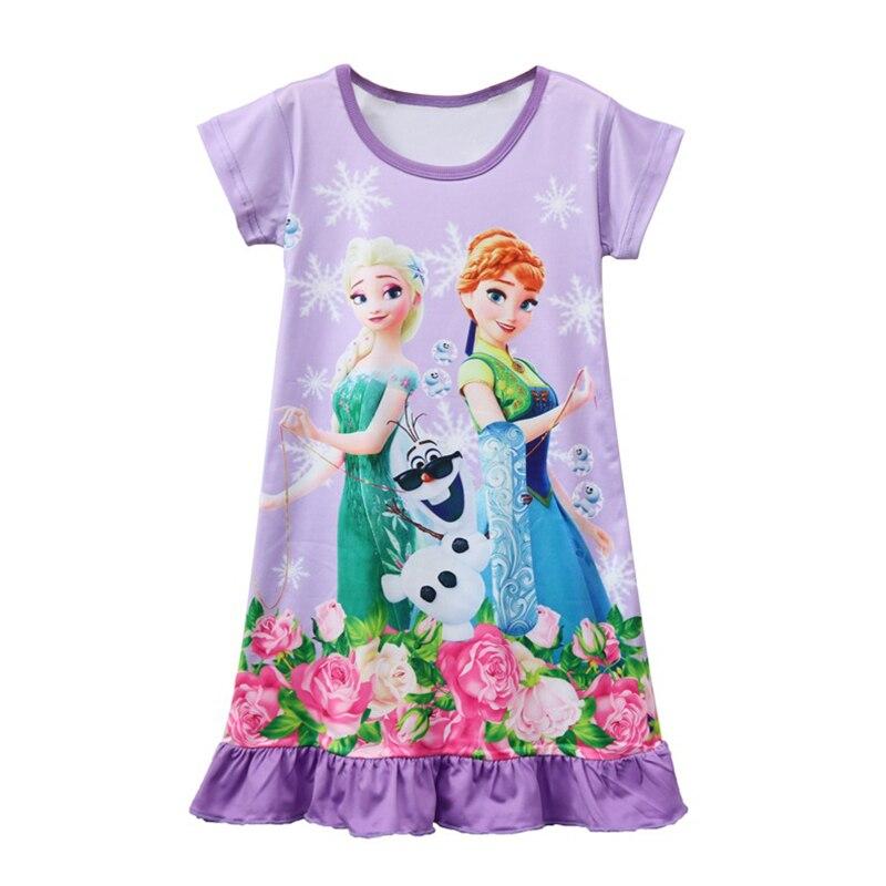 8cffe4af9d62 Summer Children Girls Nightgown Sleepwear Baby Girls Nightdress Kids  Mermaid Snow white Elsa Anna Sofia Princess Dresses Pajamas