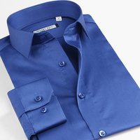 Plus Size XS 6XL Color Mercerized Cotton Casual Dress Shirt Commercial Male Long Sleeve Slim Fit