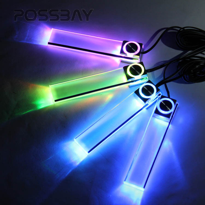 POSSBAY Car Styling Universal 4 Pieces Car Auto Automobile Vehicle Interior Atmosphere Lights Floor Colorful Decorative Lamp