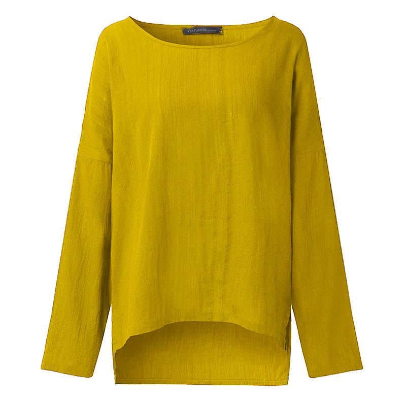 ZANZEA מקרית של נשים O שרוול ארוך שרוול חולצה לא סדירה 2018 האביב גבירותי מוצק בדגי כותנה פשתן חולצות S 5XL