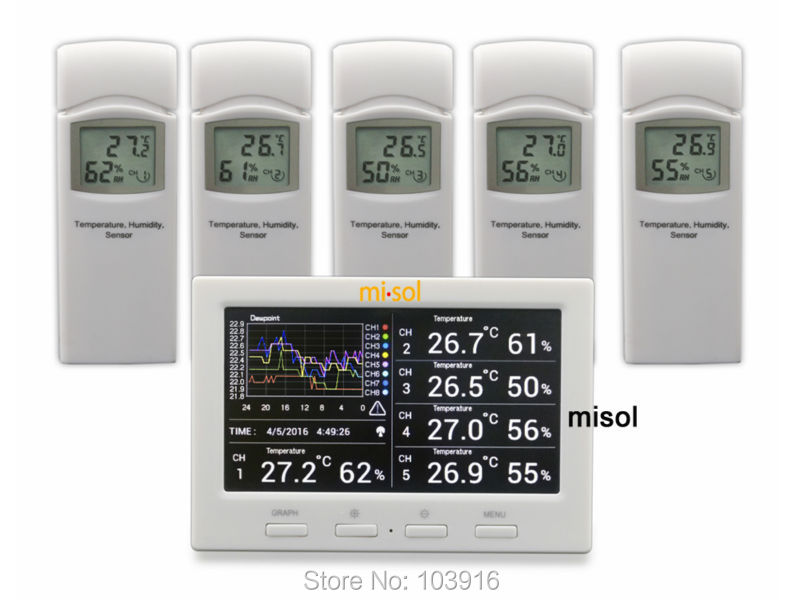 Wireless weather station with 5 sensors, 5 channels, color screen, data logger, connect to PC 50pcs d203b d203 to 3 sensors