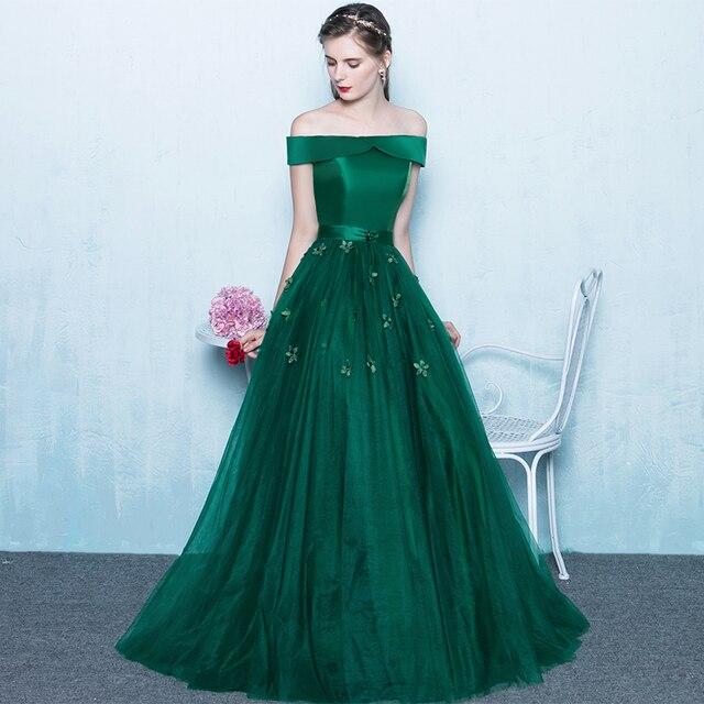 f1870ad8ed Boat Neck Sin Mangas Verde Esmeralda Vestidos de Baile Elegante de la  Piso-Longitud de