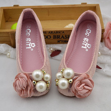 High quality spring princess shoes children pearl flowers shoes girls single shoes children's casual shoes free shipping