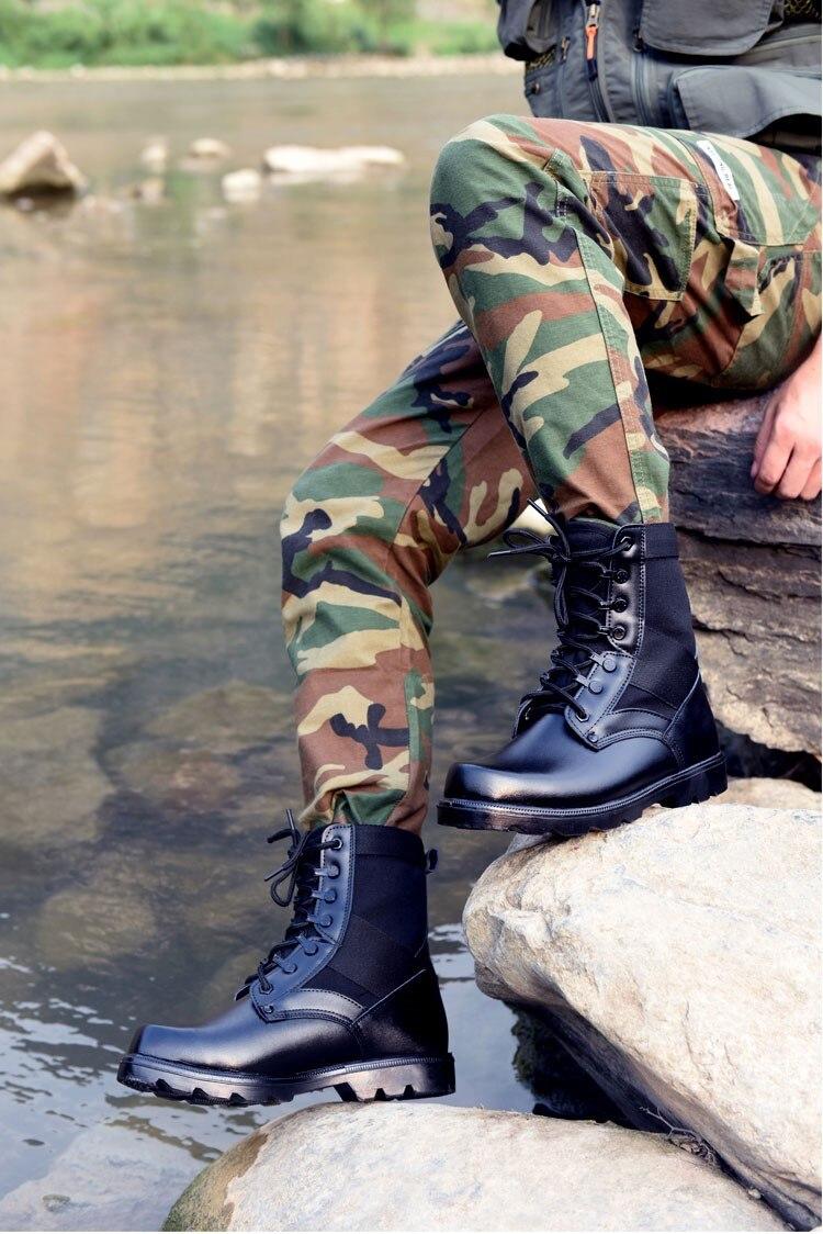 Großhandel Herren Leder Taktische Armee Stiefel Knöchelriemen Schwarze Kampfstiefel Atmungsaktiv Sicherheits Stahlkappe Schuhe Size34 46 Von