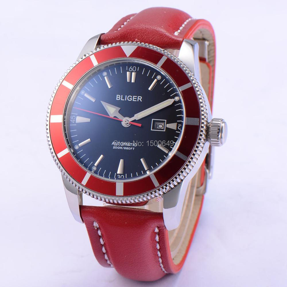 46mm BLIGER  Stainless steel  case Mingzhu dg2813 movement Men Automatic Watch 1865