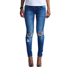 New Fashion Blue Low Waist Ripped Jeans for Women Washed Stretch Skinny Jeans Ripped Knees Pants Jean Femme EU Size 34-44 EG6325
