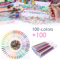 100 Color Gel Pens Set Neon Metallic Glitter Sketch Drawing Staionary Pen Art Supplies for Adults Coloring Books+100 Refill Gift