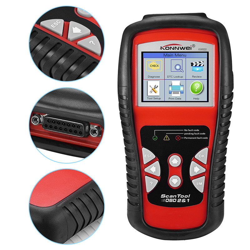 OBD2 / EOBD Diagnostics Auto Scanner Automotive Fault Code Reader Diagnostic Tool Car Detector Automotive Tool KONNWEI KW830 цена