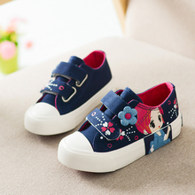 Girls Princess Shoes 2016 New Autumn Children Canvas Sneakers Floral Kids Fashion Sneakers Denim Casual Flat