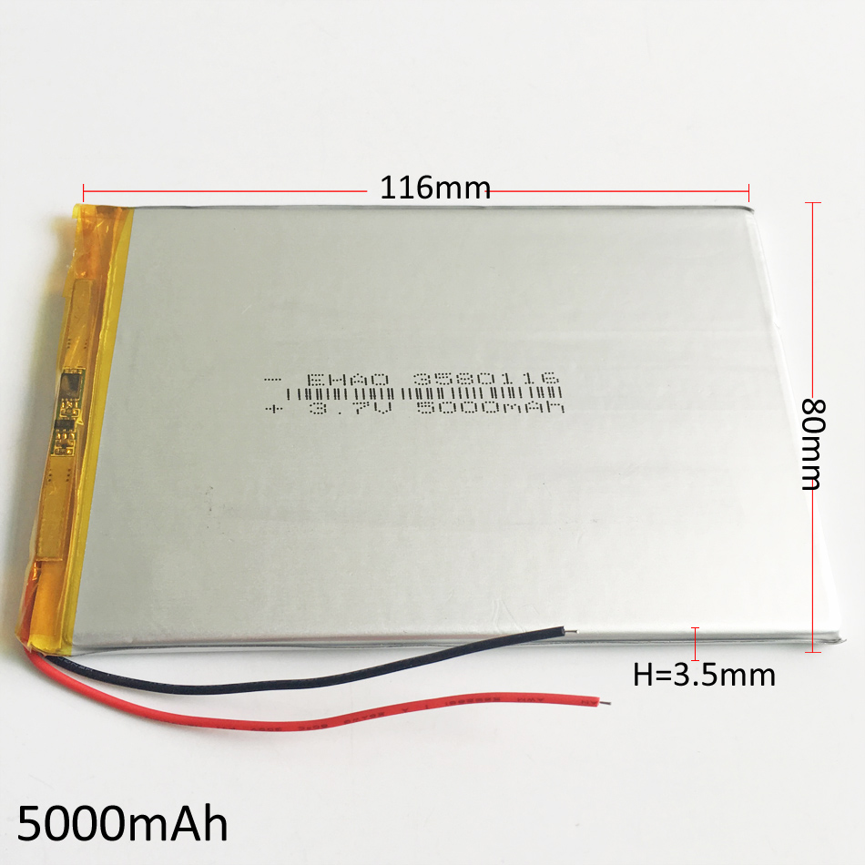3580116 <font><b>3.7V</b></font> <font><b>5000mAh</b></font> <font><b>LiPo</b></font> Rechargeable <font><b>Battery</b></font> Polymer Lithium For GPS PSP DVD PAD E-book tablet pc laptop power bank video game image