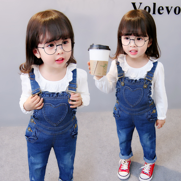 spring new fashion girls Jeans bottoms baby lacework pants overall child loving heart trousers children suspender trousers колпачок airline avc 04 с защитным манжетом