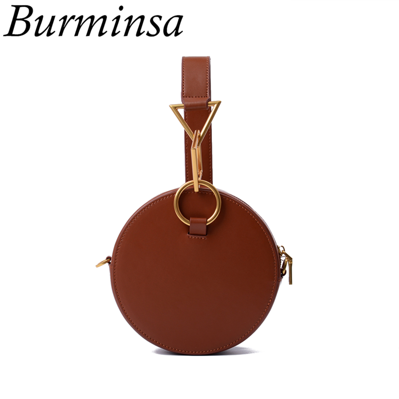 Burminsa Mini Round Genuine Leather Bags Ladies Designer Handbags Cute Women Shoulder Messenger Bags 2018 Black Brown White Red red cute high waisted leather mini skirt