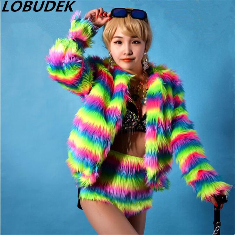 Stunning color imitation fur coat nightclub chanteuse DSDJ stage costume sexy female costume for singer dancer