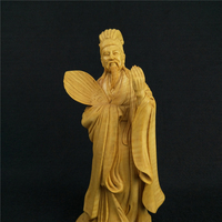 Boxwood Carvings Three Kingdoms Time Figure Zhuge Liang Office Supplies Carving Home Decoration Wood Ornaments Featured
