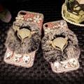 Para iphone 7 case capa luxo glitter rhinestone fox cabeça de pelúcia pc case para iphone 7 plus bling diamante capa de silicone transparente