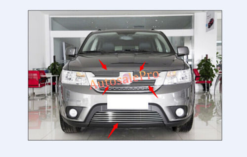 Stainless Front Grille Grill Cover Trim 5pcs For Fiat Freemont