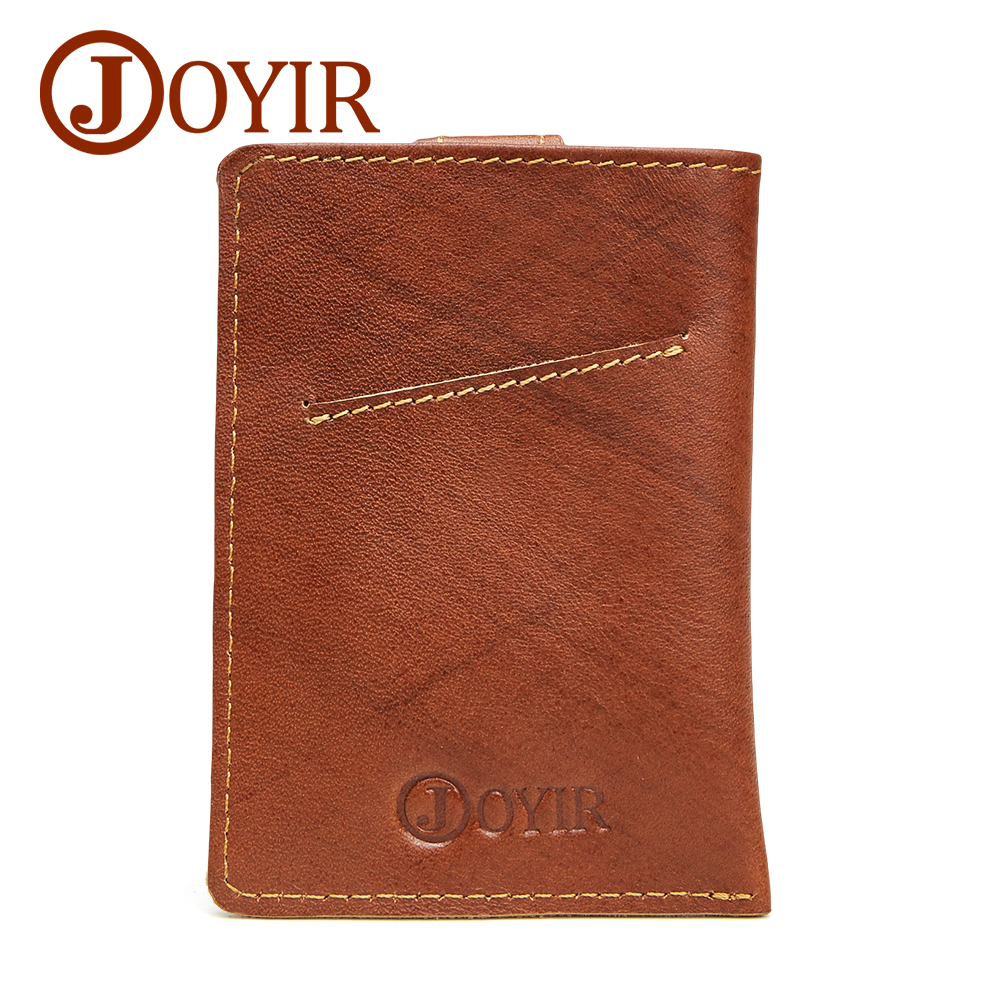 JOYIR Luxury Genuine Leather Men Card Holder Short Wallet Designer Man Credit ID Card Holder Slim Purse Male Coin Small Bag