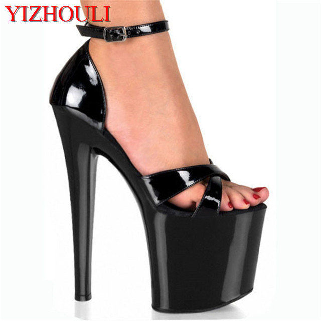 PU 20CM Sexy Gladiator Super High Heel Platforms Pole Dance   Performance Star Model Shoes 64cd9cf8a76b