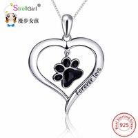 925 Sterling Silber Kette Katze Hund Pfote Anhänger Choker Halskette Modeschmuck Liebe Herz Halsketten & Anhänger Für Frauen 2017