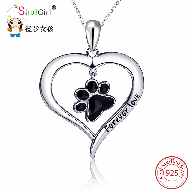 925 Sterling Silver Chain Cat Dog Paw Pendant Choker Necklace Fashion Jewelry Love Heart Necklaces & Pendants For Women 2018 original dropshipping my sweet pet paw love necklace girl 925 sterling silver pendant necklace for women fashion jewelry gifts